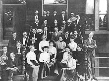 Staff of the Bureau of Plant Industry in front the USDA building, ca. 1900s. Flora Wambaugh Patterson is seated in the front row on the left. Beverly Galloway is standing to the right of the stairs. Courtesy of the National Archives