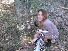 Tess researching fungi.